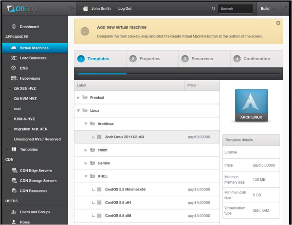 OnApp Cloud v3 build wizard - preview screenshot 