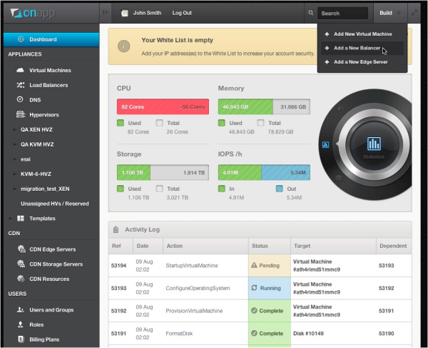 OnApp Cloud v3 dashboard - preview screenshot 
