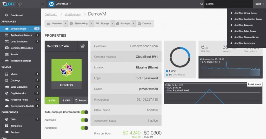 OnApp control panel - hybrid cloud management platform