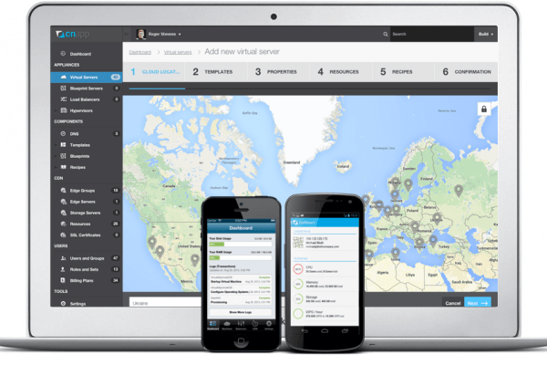 The OnApp cloud management portal - web, Android, iOS