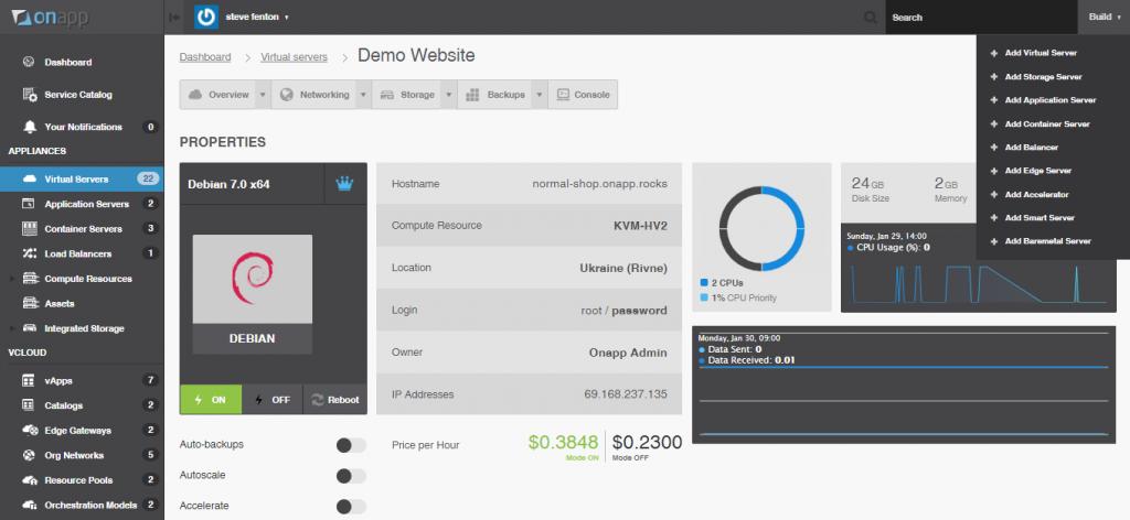 OnApp Platform v5.3 - complete hybrid cloud platform UI