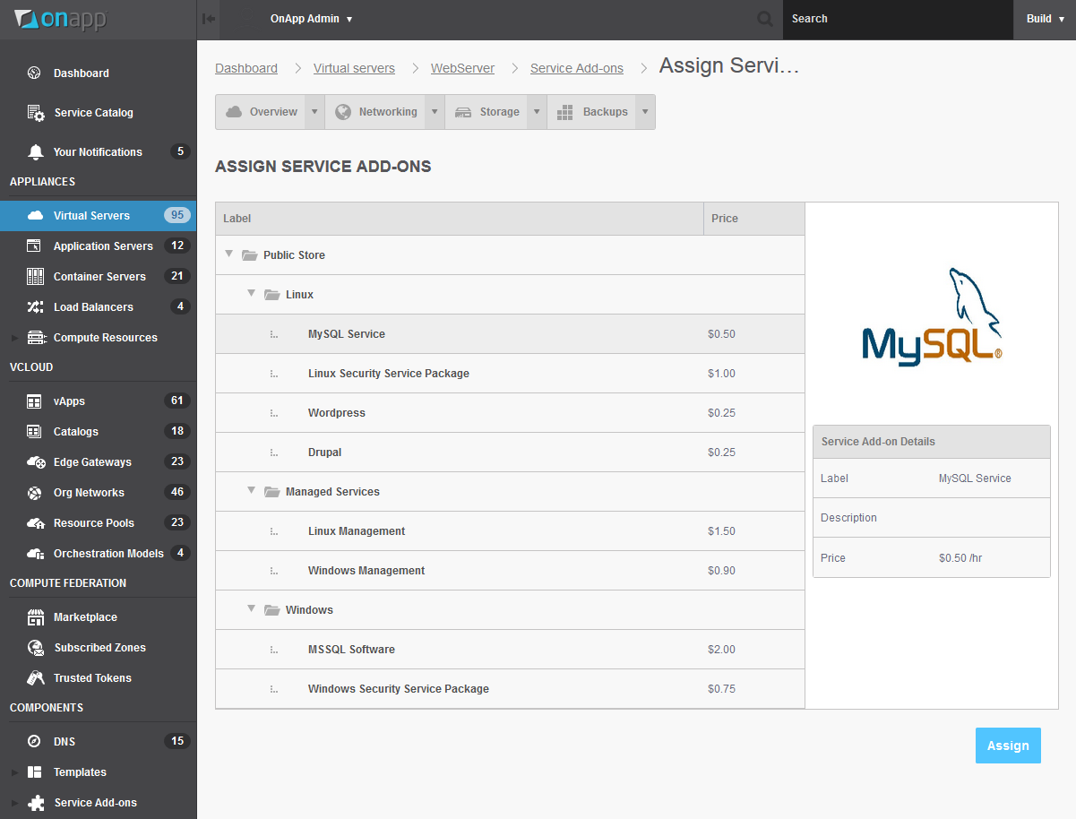 Assigning service add-ons to virtual servers, in OnApp v5.3
