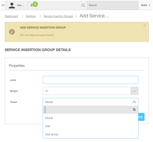 Add OnApp Service Insertion Group