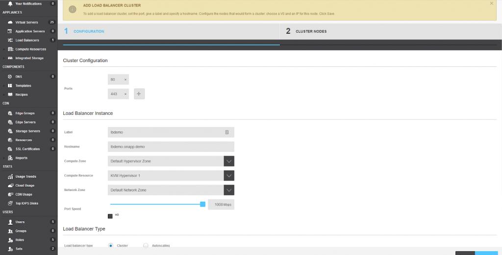 OnApp load balancer cluster config