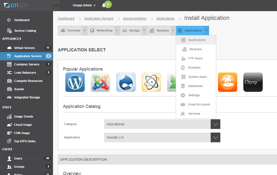 Ready-to-run Moodle in an OnApp cloud